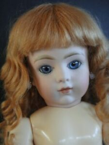 """French bisque BRU Reproduction doll. 10.7"""" (27 cm). Blue eyes - Mohair wig"""