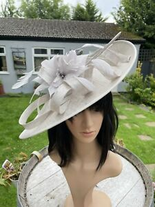SILVER LUREX WEDDING ASCOT DISC HATINATOR Mother Of The Bride Hat OCCASION