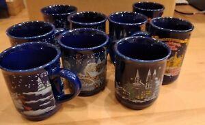9 Sinki Glühweinbecher, gebraucht, verschiedene Weihnachtsmotive, blau, 0,2 Ltr.