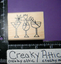 FLOWER DRINKS MARTINI TROPICAL RUBBER STAMP A MUSE ARTSTAMPS 2-7009D