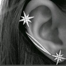 VERY POPULAR long and Stud  Snowflake Rhinestone Clip Ear Cuff Wrap Stud