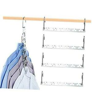 Magic Clothes Hangers Smart Closet Saver – Heavy-Duty Chrome Steel, Pack of 6