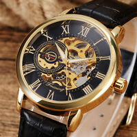 FORSINING Roman Numerals Leather Strap Hand Winding Mechanical Men Wrist Watch