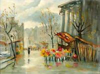 """Original Expressionistisches Ölgemälde-20.Jhdt.-  """"Marktszene in Paris""""-signiert"""
