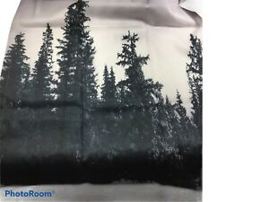Mountain Scene Fabric Shower Curtain with Hooks Pine Trees Black White