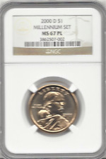 2000-D $1 Millennium Set Sacagawea NGC MS67 PL Brown Label