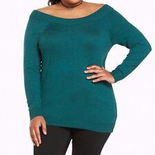 Torrid Off Shoulder Sweater Green Size: 00 10 00X #34544