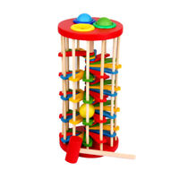 Wooden Pounding Hammer Toy for Toddlers,Pound and Roll Wooden Tower