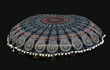 Indian Large Floor Round Cushion Case Ottoman Pillow Cover Boho Peacock Mandala