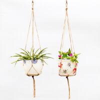 KE_ FT- Macrame Hanging Knotted Rope Plant Flowerpot Holder Basket Garden Deco