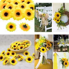 100X Artificial Daisy Heads Silk Flowers Sunflower Wedding Party Garden Mini