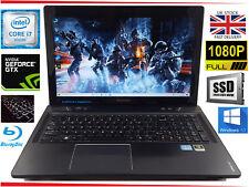 "15.6"" Lenovo Y580 Gaming Laptop Core i7 12GB 128GB SSD + 750GB Win10 GTX Blu ray"
