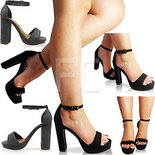 NEW WOMENS BLOCK HIGH HEEL OPEN PEEP TOE PLATFORM ANKLE STRAP SHOES SANDALS SIZE