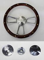"1969-1994 Chevy Camaro SS Cap Mahogany Wood Steering Wheel w/rivets & Billet 14"""