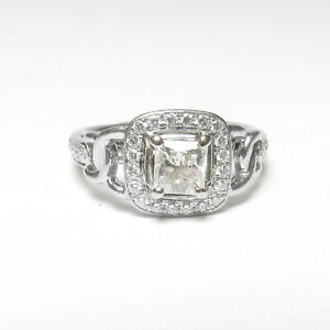 Estate Platinum WEIGHED 0.65 Ct Princess Cut Diamond Halo Ring 0.95 Cts Total