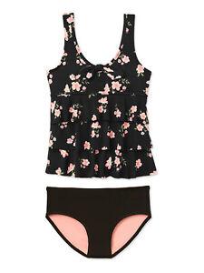 JUSTICE Girls Swimsuit Tankini Black Floral Bikini 12 14 16 18 20 22 PLUS Size