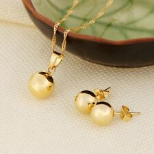 Ball Pendant Necklace Earrings Jewelry SET Fine 24k Real Yellow Solid Gold GF