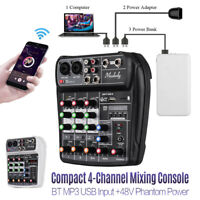 BT 4-Channel Sound Card Mixing Console Audio Mixer USB 48V Phantom Power