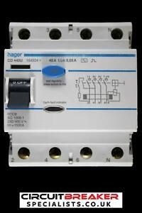 HAGER 40 AMP 30mA FOUR POLE RCCB RCD TYPE AC CD440U 164504
