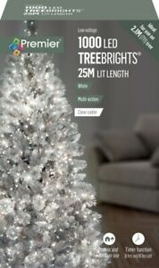 Premier 1000 LED TreeBrights Christmas Tree Lights Timer with Clear Cable WHITE
