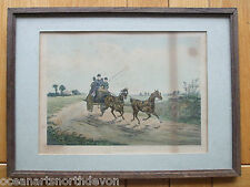 """ANTIQUE PRINT PROOF C1800S PAINTED BY H ALKEN """"TANDEM"""" HORSES ENGRAVED C R STOCK"""