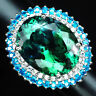 AAA BLUE GREEN AMETRINE RING OVAL 17.60 CT. SAPPHIRE APATITE 925 SILVER SZ 6.75