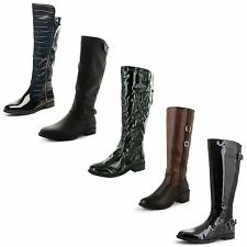 Unbranded Women's Synthetic Leather Block Mid-Calf Boots