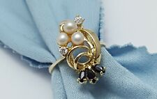 Exquisite 14K Karat Solid Yellow Gold Designer Ladies Ring w/CZ's, Onyx & Pearls