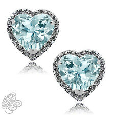 1.89 CT Halo Heart Aquamarine Stud Earrings 14K WG Covered 925 Sterling Silver