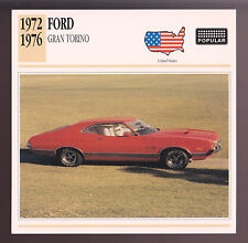 1972-1976 Ford Gran Torino Fastback Car Photo Spec Sheet CARD 1973 1974 1975