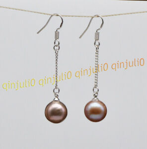 Perfect 10-10.5mm Purple Natural Seawater Round Pearl Dangle Hook Chain Earrings