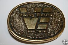 WOW Rare Old Vintage Viking Electric Co. California Brass Belt Buckle Since 1978