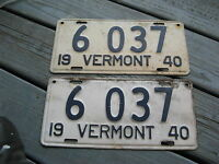 1940 40 VERMONT VT LICENSE PLATE NICE TAG BUY IT NOW - PAIR PR 6037
