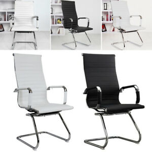 Modern PU Leather Dining Chairs High Back Metal Legs Room Home Restaurant Office