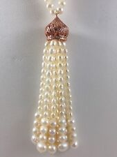 Genuine Cultured Pearl Tassel Necklace With Cz.s, Rose Gold Vermeil, 34.5 Inches
