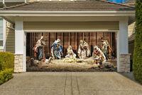 Nativity Scene Garage Door Banner, Christmas Mural for Double Garage Door GD217