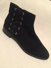 New ASOS Black Suede Ankle Boots Side Lacing & Zipper sz 8