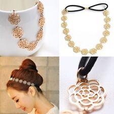Metal Chain Jewellery Hollow Rose Flower Elastic Hair Band Headband UK Stock
