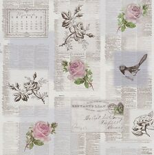 Rasch Tiles More - Grey Pink Green -Newspaper old Letters birds Wallpaper 885217