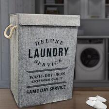 Fabric Deluxe Laundry Basket Washing Clothes Storage Hamper Bin Foldable Bag UK
