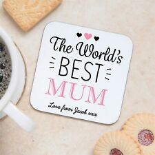 Personalised Sentimental Worlds Best Mum Wooden Drinks Coaster Mothers Day Gift