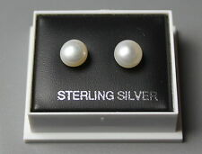 STERLING SILVER 925, STUD EARRINGS, WHITE 7MM FRESHWATER PEARL BOXED,   STUD 217