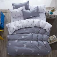 Gray Comfort Printing Bedding Set Duvet Quilt Cover+Sheet+Pillow Case Four-Piece