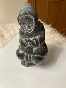 Vintage Inuit- Eskimo Soapstone Carving Sculpture (From Canada) -Woman Sewing