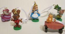 Disney Alice Wonderland Mad Hatter Cheshire Cat Rabbit 5pc Artesian Ornaments