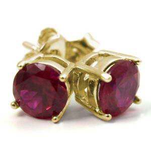 Stud Earrings Diamond Unique Ruby 2ct Solitaire 9ct Gold