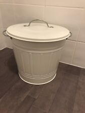 WHITE STEEL DUST BIN. CARRYING HANDLES. VERY GOOD CONDITION. 11.5 '' X 15'