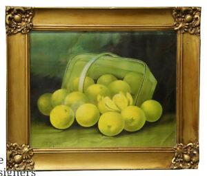 "1909 F. French Still Life Lithograph Print Fruit Basket Painting Art Nouveau 25"""