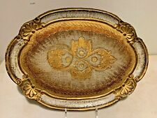 Florentine Tole Oval Gold & Silver hand Sculptured Tray Gilt Wood,Italy, signed