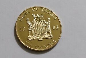 ZAMBIA 1000 KWACHA 2003 GOLD PLATED POPE JOHN PAUL II B38 WT5
